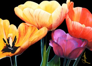 Cutting Board - Serving Tray - Tulips