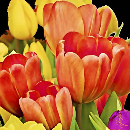 Glass Cutting Board -Serving Tray - Tulips Bouquet