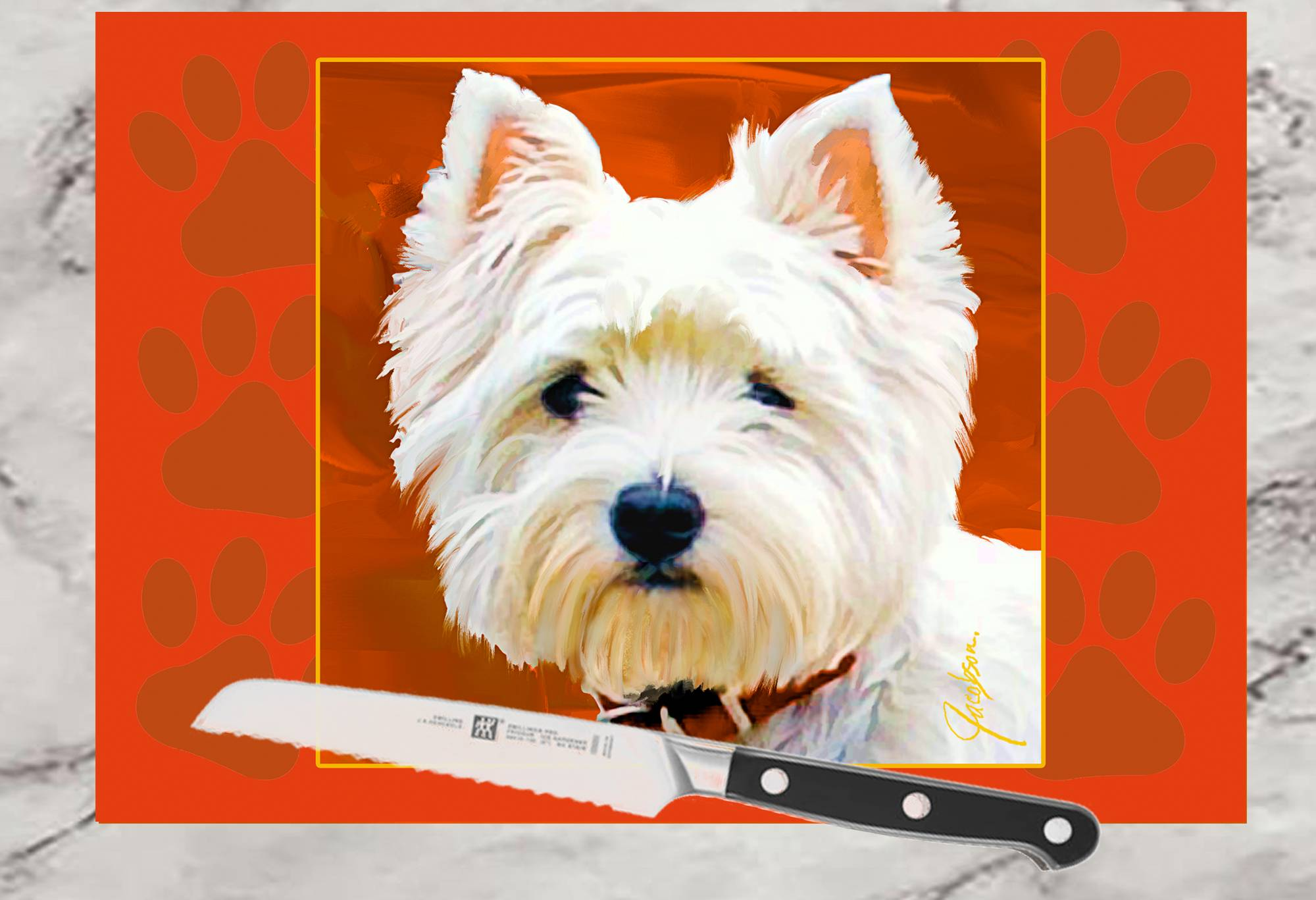 Glass Cutting Board Westie