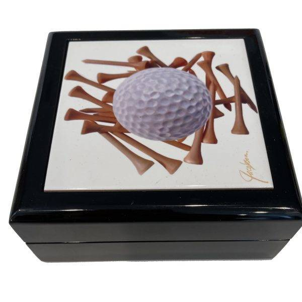jewelry box with golf ball tile